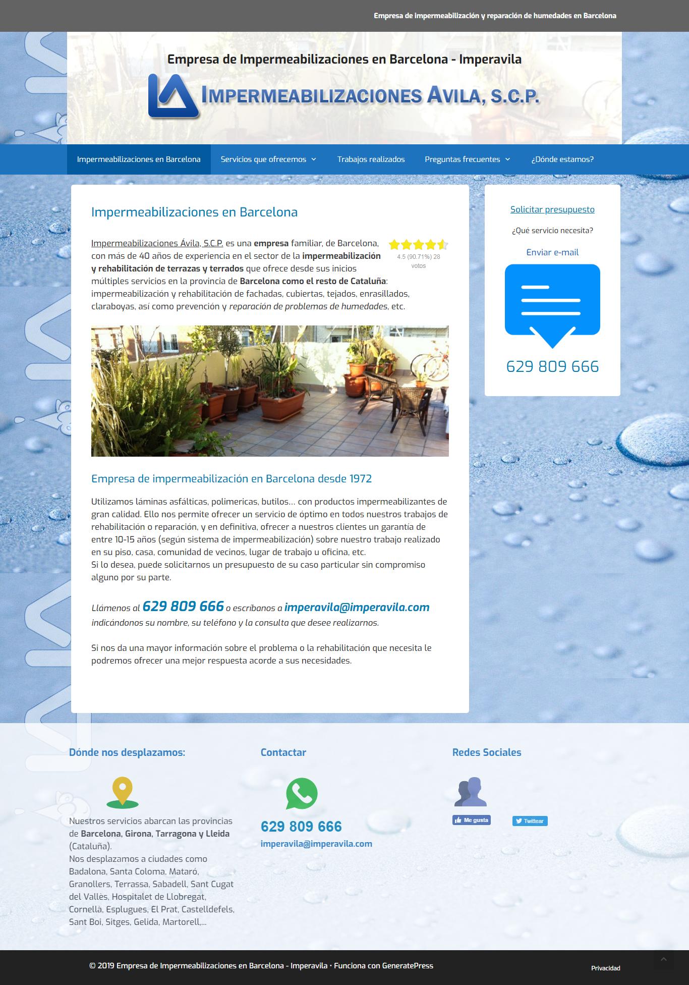 Ejemplo de Web en WordPress de nuestro cliente Imperavila.com