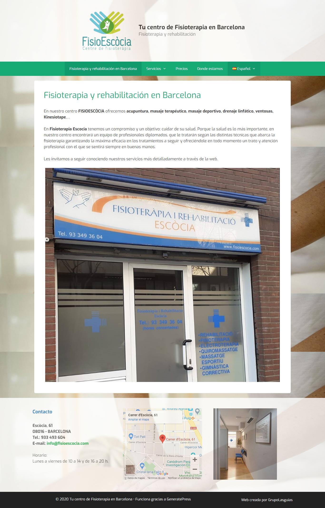 Ejemplo de Web en WordPress de nuestro cliente FisioEscòcia